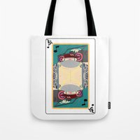 rap Tote Bags featuring rap king by Red Monkey