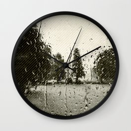 Cypress in the Rain Wall Clock