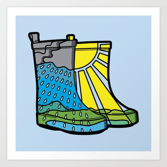 Rainy Day Boots Art Print