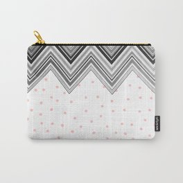 Geometrical black blush pink polka dots chevron Carry-All Pouch