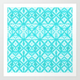 Breeze Block Shibori Aquamarine Art Print