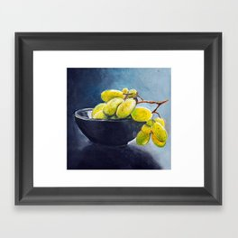 Painting of yellow grapes in a fruit bowl. Illustration Framed Art Print