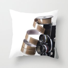 Retro movie camera and reel film Throw Pillow