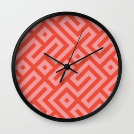 Modern Aztec Tribal Maze Red and Pink Wall Clock