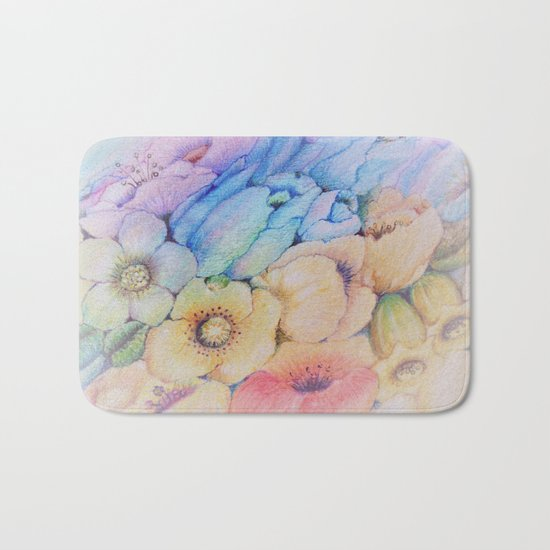 Summer fantasy with by hand drawn flowers. Bath Mat