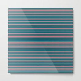 Deep Sea Blue & Pink Candy Lines Metal Print
