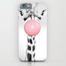 Giraffe Gum Print, Nursery Wall Art, Giraffe Poster, Bubblegum Art iPhone Case