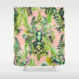 Malachite pattern on coral Shower Curtain