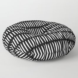 Classy Handpainted Stripes Pattern Black, Scandinavian Design Floor Pillow