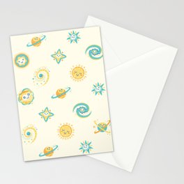 Pastel space pattern Stationery Cards