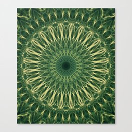 Green and yellow mandala Canvas Print