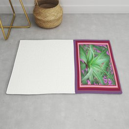 Jade Green Jungle Succulent Agave Plant Pink-Puce Purple  Design Rug