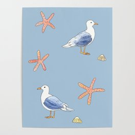 Seagull with Sea stars Watercolor Design Poster