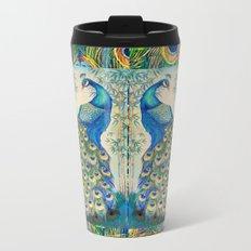 Blue Peacocks Metal Travel Mug