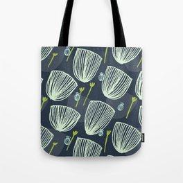 Tulip Garden M+M Navy Black by Friztin Tote Bag