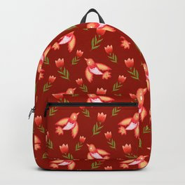 Pretty cute little wild canary birds, red blooming garden tulips, feminine nature flowers dark brown pattern. Hello spring. Gift ideas for tulip lovers. Botanical floral animal artistic design. Backpack