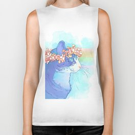 Cat with Flower Crown Biker Tank