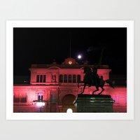 Casa Rosada con la Luna Art Print