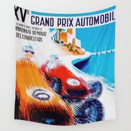 1957 Grand Prix de Monaco Auto Racing Vintage Poster Wall Tapestry