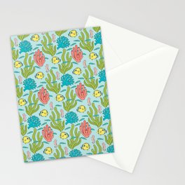 Tropical Fish and Coral Reef in Pastel Stationery Cards