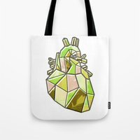 anatomical heart Tote Bags featuring Anatomical Heart by Jonny Ashcroft
