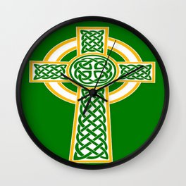 St Patrick's Day Celtic Cross White and Green Wall Clock