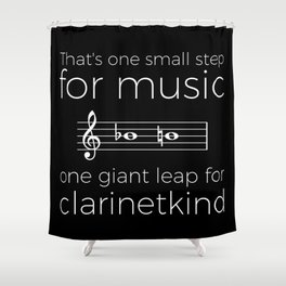 Crossing the break (clarinet) - white text for dark t-shirts Shower Curtain