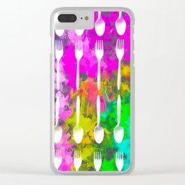 fork and spoon pattern with colorful painting abstract background Clear iPhone Case