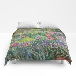 The Iris Garden at Giverny by Claude Monet Comforters