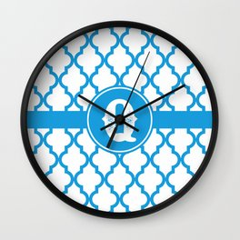 Blue Monogram: Letter Q Wall Clock