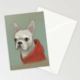 French bulldog in red hoody Stationery Cards