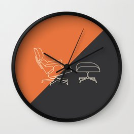 Eames Lounge // Mid Century Modern Minimalist Illustration Wall Clock