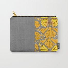 MODERN GREY ART & YELLOW MONARCH BUTTERFLIES PATTERN Carry-All Pouch