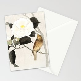 Nightingale on a flowering Camellia - Japanese vintage woodblock print art Stationery Cards