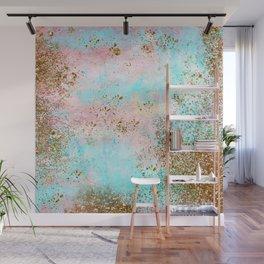 Pink and Gold Mermaid Sea Foam Glitter Wall Mural