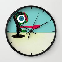 tape Wall Clocks featuring Screaming Tape Head by Take Five