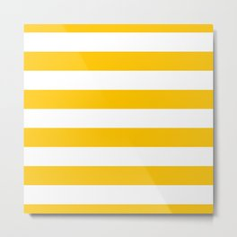 Aspen Gold Yellow and White Wide Horizontal Cabana Tent Stripe Metal Print
