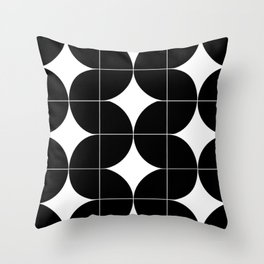Modular Black and White Repeated Pattern Design Throw Pillow