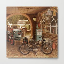 Nostalgic garage with tractor and motorcycle Metal Print