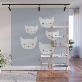Little sleepy cat kawaii baby kitten nursery print blue boy Wall Mural