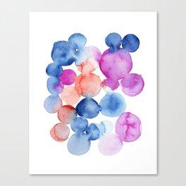Abstract Watercolor. Blue Abstract. Blue Watercolor. Abstract Circles. Modern Art, Pink Wall Art. Mo Canvas Print