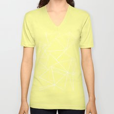 Abstract Dotted Lines White on Black Unisex V-Neck
