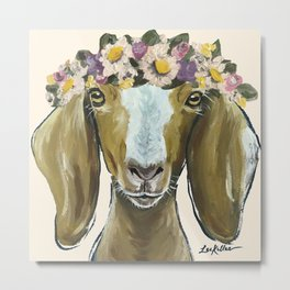 Goat Art, Flower Crown Farm Animal Metal Print