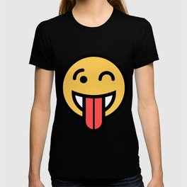 Smiley Face   Big Tongue Out And Squinting Joking Happy Face T-shirt