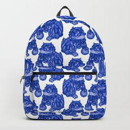 Chinese Guardian Lion Statues in Pottery Blue + White Backpack
