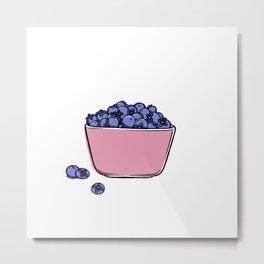 Blueberries in Pyrex Metal Print