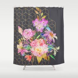 Modern watercolor floral and gold geometric cubes Shower Curtain