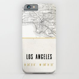 Vintage Los Angeles City Gold Foil Location Coordinates with map iPhone Case
