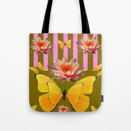 PINK WATER LILIES STRIPED BUTTERFLY PATTERNED ART Tote Bag