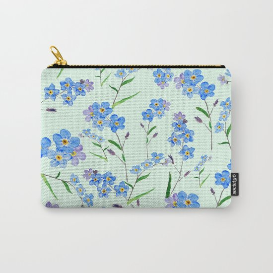 forget me not in green background Carry-All Pouch
